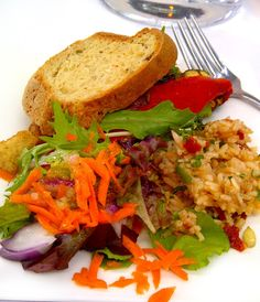 Gluten free vegetable sandwich... This looks like a salad with a piece of bread accent!