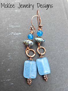 Seaside. Lampwork Glass, gemstones and  copper metal earrings.