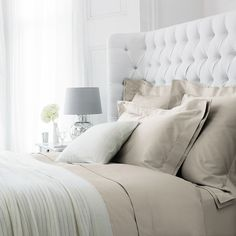 Berkley bed linen collection and button headboard - gorgeous!
