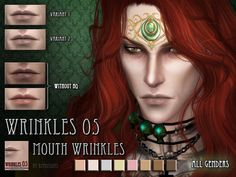 Wrinkles #5 (TS4)DOWNLOAD  Preview picture was done withHQ mod  - all genders  - teen to elder  - 8 colours, 2 variants (different height)  - Skindetail category  - custom thumbnail  - HQ mod compatible  Please respect my TOU  CC I Main blog