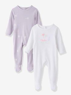 Lot de 2 pyjamas bébé en pur coton imprimé dos pressionné - blanc, Bébé