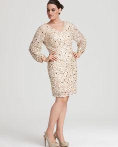 45530c1367a44 Aidan Mattox Plus Dress - Beaded Long Sleeve Women - Plus - Dresses -  Bloomingdale s