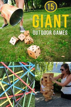 Go BIG or Go Home! To the Backyard that is. Here's 15 Outdoor Games that are guaranteed to provide large amounts of fun in an unusual way. Giant Outdoor Games, Giant Games, Board Games For Kids, Outdoor Activities For Kids, Outdoor Fun, Outdoor Toys, Backyard For Kids, Backyard Games, Backyard Ideas