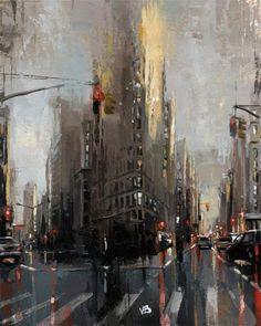 Victor Bauer Gallery of Original Fine Art Landscape Art, Landscape Paintings, City Painting, Painting Art, Abstract City, Cityscape Art, New York Art, City Art, Fine Art Gallery
