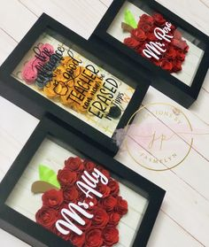 Teacher gifts, shadow box instead of flowers. Flower Shadow Box, Diy Shadow Box, Teacher Christmas Gifts, Teacher Birthday Gifts, Christmas Ideas, Origami, School Gifts, Gifts For Daycare Teachers, Teacher Appreciation Gifts