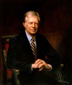 """Official White House Portrait of James Earl """"Jimmy"""" Carter, Jr. ~ 39th President of the United States. (Term: 1977-1981).  Notable events during his presidency were the Arab Oil Embargo and the Iranian Hostage Crisis."""