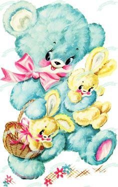 XL Vintage Digital download Blue Bear Bunny Vintage