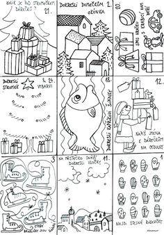 Náš advent začíná Mikulášem. To je chvíle, kdy mě zachvátí panika, že nemám dárky, napečeno, nazdobeno, uklizeno. Co je v listopadu, ... Christmas Activities For Kids, Preschool Christmas, Christmas Games, Diy And Crafts, Crafts For Kids, Christmas Calendar, Rug Hooking, Winter Time, Projects To Try