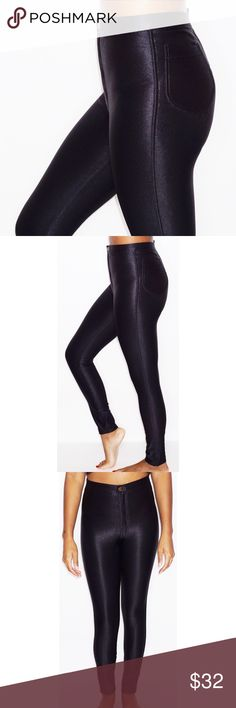 AMERICAN APPAREL DISCO PANTS 70s inspired high waisted disco pant made from a nylon blend. American Apparel Pants Skinny