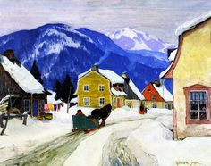 EuroGraphics Village Laurentides by Clarence Gagnon Puzzle. This beautiful winter scene provides a fun way to celebrate the holidays! Canadian artist Clarence Gagnon shows a traditional Canadian Christmas in this beautiful painting. Stretched Canvas Prints, Canvas Art Prints, Canvas Wall Art, Canadian Painters, Canadian Artists, Clarence Gagnon, Beautiful Winter Scenes, Wow Art, Painting Edges