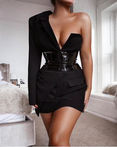 Cryptographic One Shoulder Sexy Backless Blazer Dress Women Deep V-Neck Zipper Fashion Party Club Wrap Mini Dresses Fall 2019 Black Dress With Sleeves, Black Long Sleeve Dress, Black Suit Dress, One Sleeve Dress, Blazer Dress, Belted Dress, Ruched Dress, Jacket Dress, Elegantes Outfit Frau