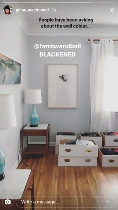 Farrow and Ball Blackened plus Benjamin Moore super white trim in semigloss Farrow And Ball Living Room, Farrow And Ball Kitchen, Farrow And Ball Paint, Living Room Paint, Bedroom Green, Bedroom Loft, Blackened Farrow And Ball, Hallway Inspiration, Wall Colors