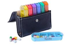 This travel-friendly pill organizer you can carry day-by-day or all week in its leather pouch. Pill Organizer, Organiser Box, Organizers, Fish Oil Vitamins, Weekly Pill Box, Prescription Bottles, Pill Boxes, Top Gifts, Thoughts
