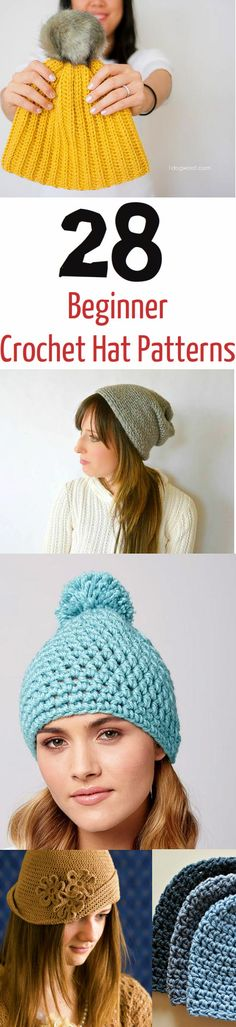 Crochet hat patterns that the whole family will love! From beanies and slouchy hats to winter caps, these crochet projects will keep you cozy. Crochet Beanie Pattern, Crochet Cap, Crochet Round, Diy Crochet, Crochet Crafts, Crochet Stitches, Crochet Projects, Crochet Patterns, Hat Patterns
