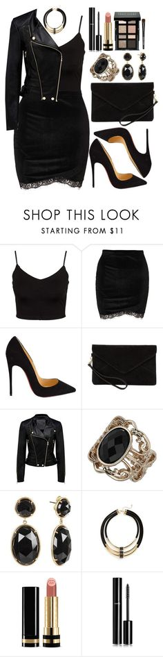 """""""Untitled #4447"""" by natalyasidunova ❤ liked on Polyvore featuring Glamorous, Christian Louboutin, MANGO, Forever New, Dorothy Perkins, Irene Neuwirth, Topshop, Gucci, Chanel and Bobbi Brown Cosmetics"""
