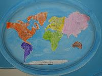 Teaching continents using paper plates - has a downloadable template with the continents sized to fit the plate!