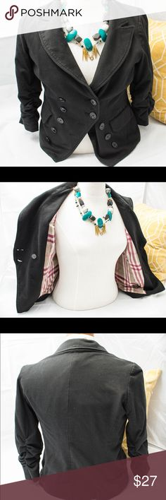 Sailor fashion blazer Thick black jersey knit blazer with inside plaid lining and fits amazingly - size 10-12 comfortably. I'm too heavy and this absolutely accommodates the girls. Try pairing w a long cami - super fashionable and trendy INC International Concepts Jackets & Coats Blazers