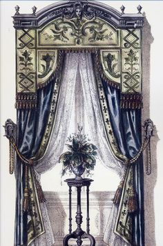 vintage illustrations of regency mouldings Small Curtains, Curtains And Draperies, Luxury Curtains, Custom Curtains, Valances, Victorian Curtains, Victorian Windows, Victorian Homes, Victorian Window Treatments