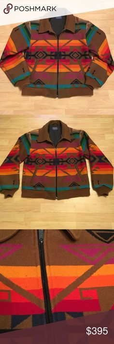 Rare Pendleton Vintage Sunset Tribal Jacket Pendleton coats are known for their warmth and classic tribal prints. This vintage is in excellent condition! Pendleton Wool made in USA; Portland,Oregon. Talon zipper. Inside security pocket. Tiny spots featured in 3rd pic. Armpit to armpit measures approx 23 inches. Sleeve length measures approx 22.5 inches. Features ribbing around bottom and sleeve cuffs to further help keep in the warmth. 😍 Would make a killer present!  Last two pics aren't…