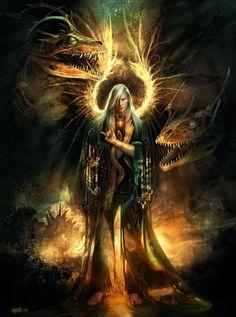 warrior elve, dragon