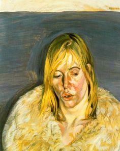 girl in a fur coat, lucian freud.