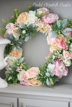Diy spring floral wreath tutorial crafts diys pinterest rachel elizabeth creates diy floral wreath tutorial mightylinksfo