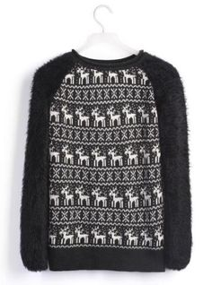 Little Deer Hair Sleeve Sweater Black$38.00