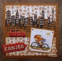 A card for a guy: COL1383 Village decoration set 2, Skyline LR0354 made by Hennie