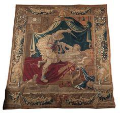 Tapisserie des Flandres, XVII ème siècle Groupe de personnages Belle