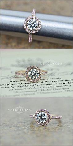 2.50 CT Engagement Ring Round Cut Halo Solid 14k or 18k Rose Gold Bridal Bridal
