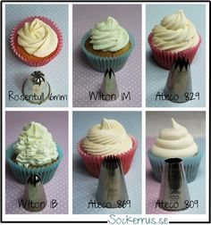 Cupcake frosting decor guide. Sorry not in English but good photos