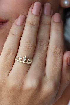 Pear Crown Diamond Engagement Ring 14K Yellow Gold