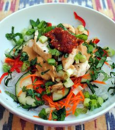 Cold Rice Noodles with Peanut-Lime Chicken #glutenfree