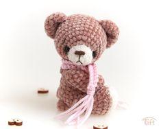 Amigurumi miniature teddy bear toy, crochet stuffed plush bear animal with clothes Bear Animal, Teddy Bear Toys, Crochet Teddy, Plush Animals, Cotton Thread, Wool Yarn, Black Onyx, Facial, Handmade Items