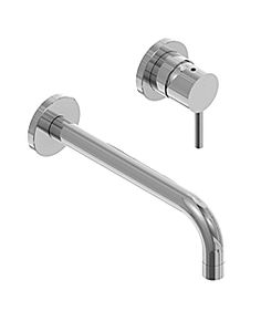 Amox wm basin mixer round flanges brushed SS