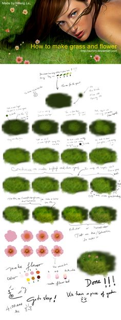 Photoshop Digital Painting Tutorial How to Create Realistic Grass and Flowers ( I love this one!)