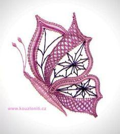 33 - Velký paličkovaný motýl - velikost krajky 22x18 cm Crochet Butterfly, Crochet Flowers, Bruges Lace, Types Of Lace, Bobbin Lace Patterns, Lacemaking, Lace Heart, Lace Jewelry, Lace Design