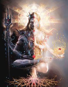 "Tantric Marriage - yoga hindu shiva shakti painting, enlightened balance - 36""x26"""