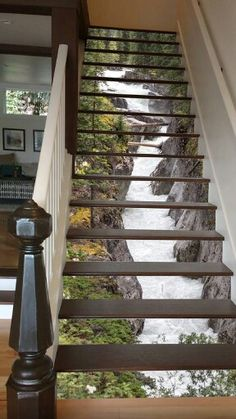 3D pictorial stair risers, looks just like your walking open steps over the waterfall. Very fun with the classic details of bannister and stair railing!!