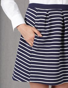Pleated front a-line ponte skirt with pockets