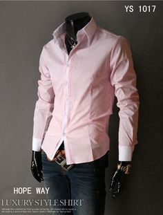 Mens Fashion Clothing Mens Fitted Shirts Men Pink Shirt Dress Shirts for Men