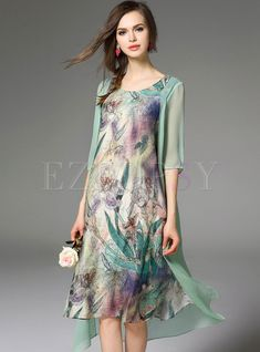 Irregular Silk Floral Print Midi Dress - Mother of the Bride/ Groom Outfit. Mother Of The Bride Dresses Long, Mother Of Bride Outfits, Mothers Dresses, Mob Dresses, Modest Dresses, Fashion Dresses, Cheap Dresses, Shift Dresses, Elegantes Outfit Frau