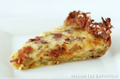 Rosemary Bacon Quiche with a Hash Brown Crust.