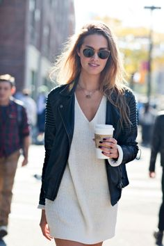 Cecelia Singley // round sunglasses, leather jacket and white sweater dress #style #fashion #model #streetstyle