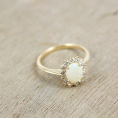 Opal & Diamond Ring in 14K Yellow or White Gold by AndersonBeattie