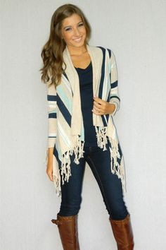 Fall Fiesta Cardigan (Blue) | Girly Girl Boutique