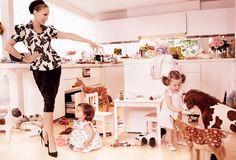 Vogue Magazine August 2011 Sarah Jessica Parker and Mathew Broderick. Their twin girls children all wearing Fleurisse Dresses