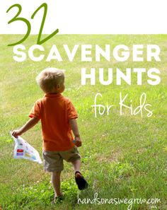 32 Fun Scavenger Hunt Ideas for Kids - great for outdoor activities Kids Crafts, Craft Activities For Kids, Summer Activities, Toddler Activities, Learning Activities, Projects For Kids, Outdoor Activities, Games For Kids, Alphabet Activities