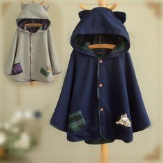Cute grid cat ear hoodie woolen cape coat SE9099