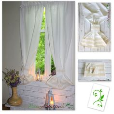 Oryginal natural white curtains. Decorated with cotton lace. Beautiful window decoration. Perfect for rustic, vintage, shabby chic and cottage  interior . Made of natural cotton blend fabric with linen and elana